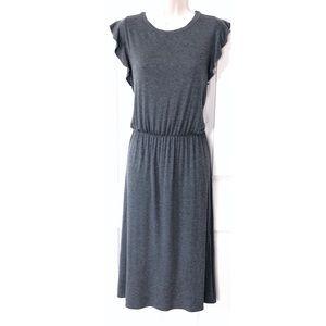🆕 LOFT gray ruffle cap sleeve midi dress medium